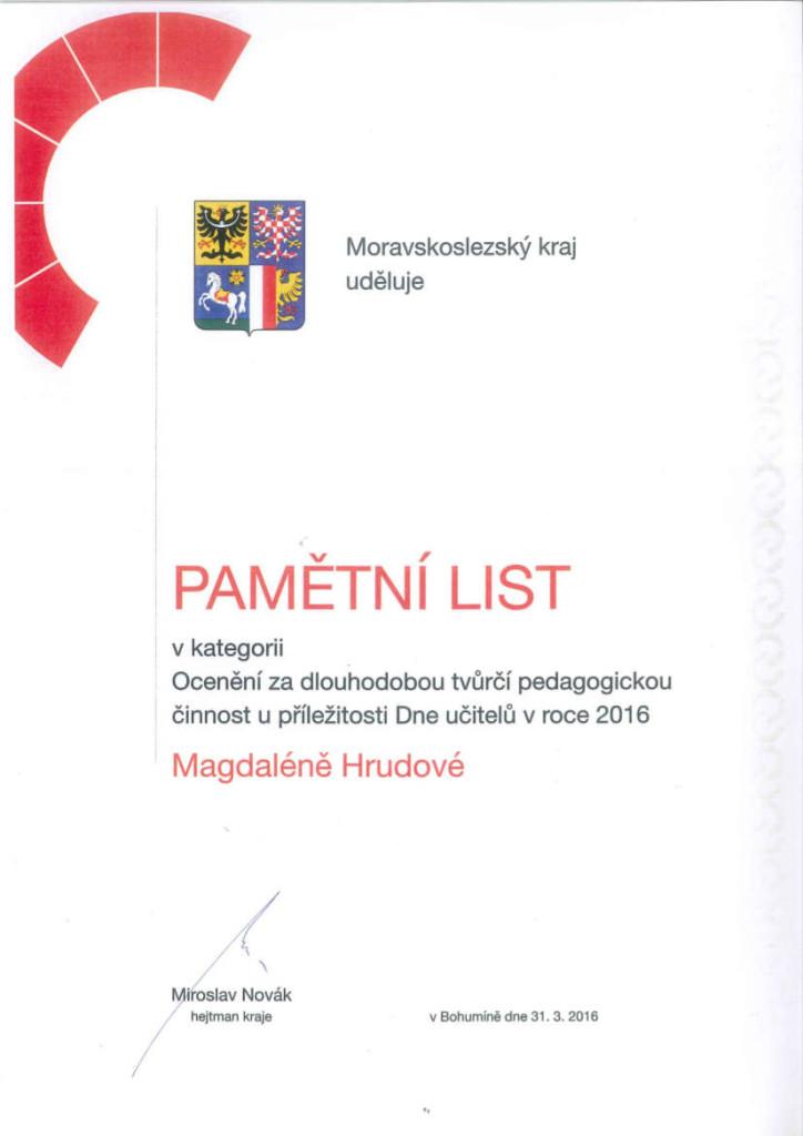 pamětní list